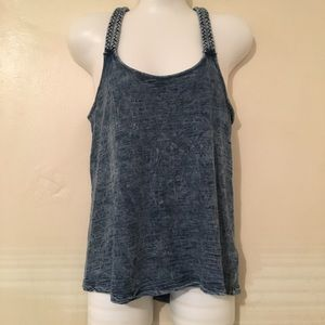 Mossimo denim tank top with braided straps small